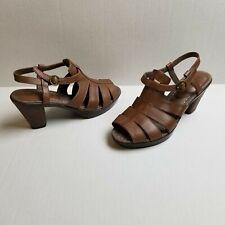 Sanita Womens Heels sz 10 (40) Brown Open Toe Leather Sandals Shoes Strap