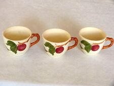 3 Vintage FRANCISCAN-WARE California Pottery RED APPLE PATTERN Tea Coffee Cups