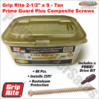 "Grip-Rite 2.5"" x 9 Pan-Head Polymer-Coated Star-Drive Composite Deck Screws TAN"