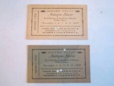 (2) 1939 SECOND TEXAS ANTIQUE SHOW TICKET STUBS -BBA-2