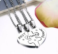 Solid Heart Puzzle 3 Best Friends Forever Three Friendship BFF Necklace Silver