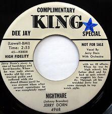 JERRY DORN 45 Nightmare / I'm So...KING label promo ROCK N' ROLL e4345