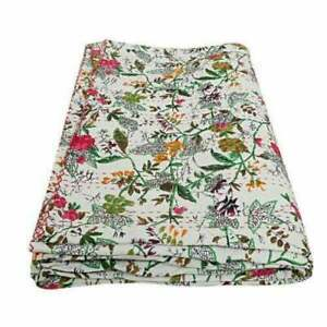 Cotton Bed Cover Floral Printed Bedspread Kantha Quilted Throw Blanket Bedding