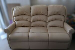 Waltham Leather Standard 3 seater sofa, cream. from HSL