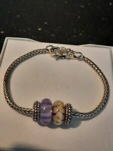 Trollbeads foxtail Bracelet + flower Lock with free charms and stoppers ❤ 20cm