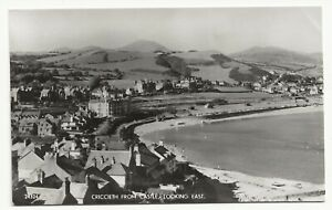 1950's RP Postcard CRICCIETH from castle looking east by Salmon