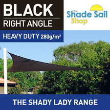 Right Angle Black 7m X 8m X10.63m Shade Sail Sun Heavy Duty 280GSM Outdoor Black