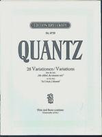 """QUANTZ ~ 28 Variationen über die Arie """" Ich schlief, da träumte mir """" Flöte u. B"""