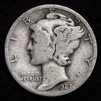 1927-D MERCURY DIME / CIRCULATED GRADE GOOD / VERY GOOD 90% SILVER COIN