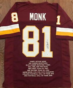 Art Monk Signed Custom Stat Jersey Washington Redskins Hall of Famer