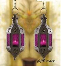 2 Purple hanging pierced Moroccan Fairy Lantern Candle holder outdoor terrace