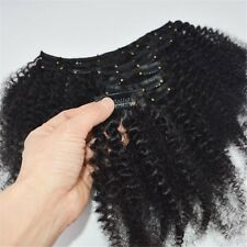 Kinky Curl Afro African Black Clips In Human Remy Hair Extension 120g With...