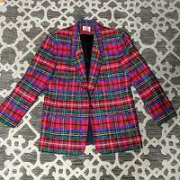 Pendleton Women's 18 Tall Blazer 100% Virgin Wool Plaid Vintage Christmas Jacket
