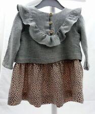 Zara robe grise et léopard manche longue bébé fille 9-12 mois