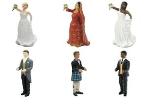 Bride & Groom Wedding Cake Toppers Asian Black African Scottish Inter Changeable