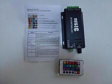 Music Audio Sound Driver RGB x2 Strip Light LED Controller 12V 120W IR Remote