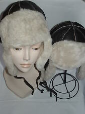 NEW! 2 Brown Sheepskin Russian Trapper Bomber - Aviator Hats Unisex Real Leather