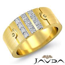 Princess Diamond Mens Matt Finish Ring 18k Yellow Gold Half Wedding Band 0.75Ct