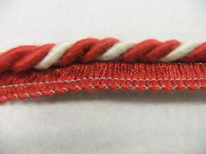 10 METERS 8MM FLANGED CORD/ROPE PIPING RED AND WHITE HT 05