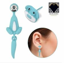 MACKRI Animal Earrings Dog Stainless Steel Stud Earrings TURQUOISE