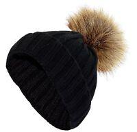New Ladies Chunky Knit Women Cap Winter Warm Unisex Fur Pompom Bobble Casual Hat
