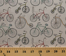 Around Town Bicycles Tricycles Bike Gray Cotton Fabric Print by the Yard D780.50