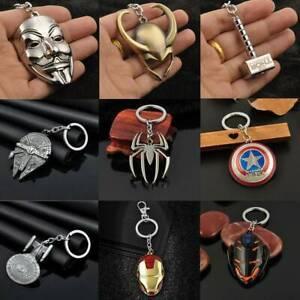 Retro Anime Figure The Avengers Marvel Character Keychain Keyring Car Keyfob CA