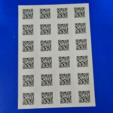 96 X Personalised Qr Code Barcode Stickers Sticky Labels Laser Printed