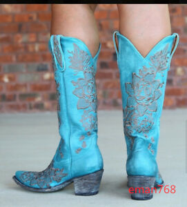 Embroidery Floral Women Pull on Tall Square Toe Calf Knee High Western Boots Sz
