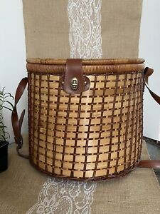 """Large Vintage Woven Oval Picnic Basket With Strap Cloth Striped inside 14"""" Tall"""