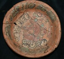 Orig $1099 Wow! Pre Columbian Mayan Burial Bowl, glyphs 4In Prov