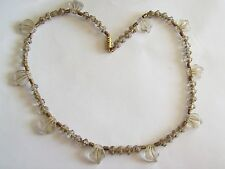 Vintage Gilted Clear Molded Glass Leaves & Crosses Necklace