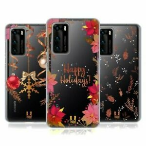 HEAD CASE DESIGNS GOLD CHRISTMAS SOFT GEL CASE & WALLPAPER FOR HUAWEI PHONES