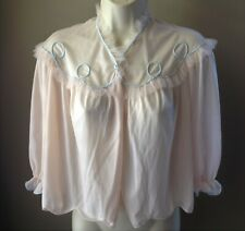 Vintage Vanity Fair Bed Jacket S Nylon Tricot Small Scalloped Hem Blue Trim