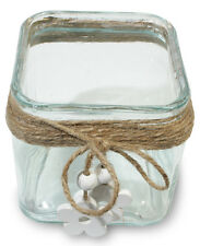 Lantern with Glass and Wood Flower Tealight Holder 11cm x 11cm x 12cm Tealight