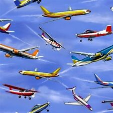 In Motion Airplanes Planes Flying in the Sky Cotton Fabric Fat Quarter