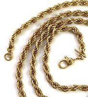 "VINTAGE NECKLACE GOLD TONE METAL ROPE CHAIN DESIGNER MONET 20"" LONG"