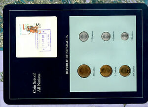 Coin Sets of All Nations Nicaragua w/card UNC 1,5 Cordobas 5,10,25,50 Ctvs 1987