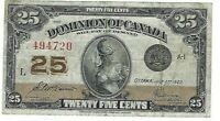 Dominion of Canada 1923 25¢ McCavours/Saunders Shinplaster in VF Condition