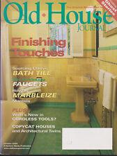 OLD HOUSE JOURNAL MAGAZINE OCTOBER 2002 *FINISHING TOUCHES*