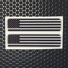 """USA America Monochrome Flag Domed Decal Emblem Car Flex Sticker 4""""x1"""" Set of 2"""