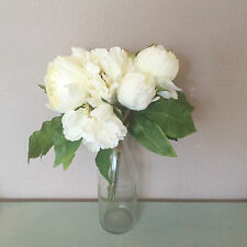 Bunch of 7 Cream / Off-White Artificial Peonies - Faux Silk Peony Flowers