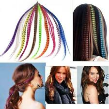 "HOT 50pcs Grizzly synthetic Feather hair Extensions 16"" with 50 beads for AO"