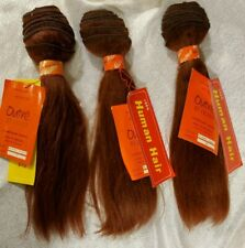 "100% HUMAN HAIR 3 BUNDLES! European Yaki Perm Straight. 12"" weave/weft color #33"