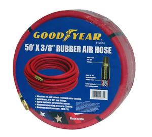 """Goodyear 50' x 3/8"""" Rubber Air Hose 250 PSI Air Compressor Hose USA Made 12674"""