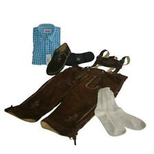Trachten-Set 4-teilig Kniebundhose hasel Gr.54, Hemd türkis, Schuhe + Socken