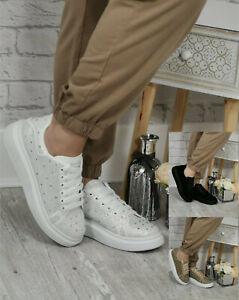 Ladies Trainers Womens Lace Up Platform Diamante Plimsolls Sneakers Shoes Size