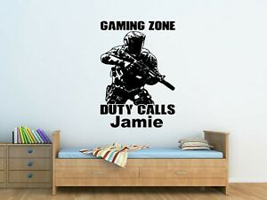 Personalised Kids Call Of Duty Soldier Army Wall Art Sticker Boys Bedroom  Decor
