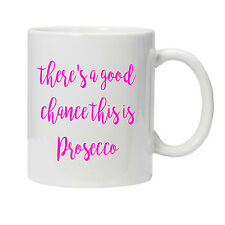 Personalised Pink Prosecco Mug Cup - Birthday-Mothers Day Gift Present
