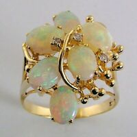 Antique 14k Yellow Gold Over 3.75Ct Fire Opal & Diamond Estate Cocktail Ring